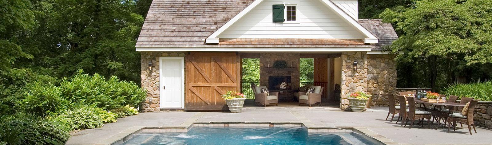 Long island masonry design landscape architecture company for Custom pool house